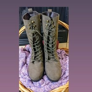 Olive color zip up/lace up boots.